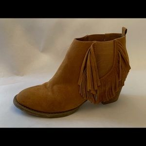 American Eagle Tan Suede Fringe Ankle Booties